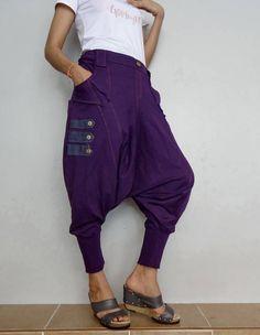 EMO Goth Punk Drop Crotch Pants Purple Soft Cotton Blend Fabric (New-2). by Brightfashion on Etsy