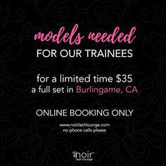 We still have spots open for tomorrow and the rest of the week! To book visit us online at www.noirlashlounge.com available 24/7! You can also book via our app which is available in iTunes. #Sanfrancisco #bayarea #sfbeauty #sflashes #sflashextensions #burlingame #hillsborough #paloalto #losaltos #norcal #millbrae #sanmateo #burlingamelashes #sfblog #southbay #california #sanbruno #pacifica #sanjose #belmont #fostercity #redwoodcity #dalycity #menlopark #sancarlos #atherton #woodside…