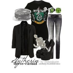 Slytherin Dress-Casual, created by chelsealauren10 on Polyvore