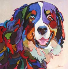 "Daily Painters Abstract Gallery: Contemporary Dog Painting, ""Say ..."