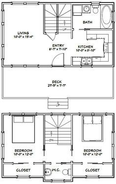Exelent Tiny House Floor Plans Under 1000 sq ft #28X16H1 #tinyhome