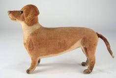 Standing 6 inch Steiff Dachshund   dog c. 1900.