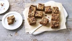 Nigella Lawson's, improved breakfast bar recipe: gluten-free, dairy-free and enough seeds to make you start sprouting. Breakfast Bars, Breakfast Recipes, Breakfast Ideas, Breakfast Cookies, Simply Nigella, Biscuits, Healthy Snacks, Healthy Recipes, Sweet Recipes