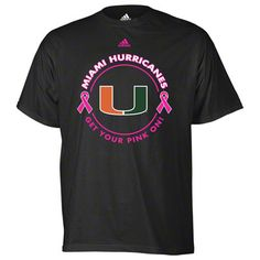 "Miami Hurricanes ""get your pink on"" Breast Cancer Awareness shirt"