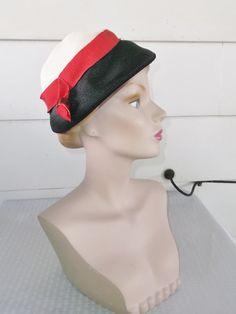 1950s Vintage Red White and Black Hat Richard by MyVintageHatShop