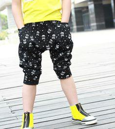 2014 Summer New Arrival Fashion Skull Pattern Boy Children Harem Fifth Pants