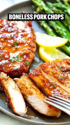 Honey Garlic Pork Chops, Honey Garlic Sauce, Baked Pork Chops, Honey Glazed Pork Chops, Pan Pork Chops, Garlic Salmon, Instant Pot Pork Chops, Boneless Pork Chops, Pork Ribs