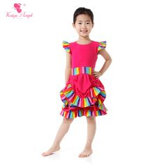 Girls Boutique Clothing Fall Children Clothing Rainbow Stipre Hot Pink Shirt + Shorts 2 Pcs Suit Princess Outfits Party Set