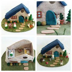 Blue Door Felt Cottage Playscape Play Mat - wool felt dollhouse pretend play - storytelling fantasy storybook fairytale - make believe toy by MyBigWorld2015 on Etsy