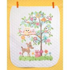 """@Overstock.com - Baby Hugs Happi Tree Quilt Stamped Cross Stitch Kit-34""""x43"""" - DIMENSIONS-Stamped Cross Stitch Quilt Kit. Liven and brighten baby's room with this adorable quilt kit. The comfort and warmth baby gets from this treasure will last far beyond the crib.  http://www.overstock.com/Crafts-Sewing/Baby-Hugs-Happi-Tree-Quilt-Stamped-Cross-Stitch-Kit-34-x43/6793202/product.html?CID=214117 $39.99"""