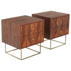 The Kerry Night Stand or Side Table by Thomas Hayes Studio I Shown in Rosewood in Pure Oil finish and Brass hardware
