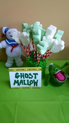 "Ghostbusters party ""ghost mallows"" (ghostbusters marshmallows found at Walmart!)"