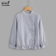 Vertical Striped Frill Trim Blouse Blue Band Collar Ruffle Cute Woman Top - Women's style: Patterns of sustainability Blouse Styles, Blouse Designs, Clothing Patterns, Dress Patterns, Ruffle Collar Blouse, Peplum Blouse, Peplum Tops, Crop Tops, Long Sleeve Tops