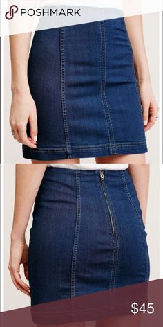Free people denim skirt super cute denim skirt. goes great with any white shirt, never worn Free People Skirts Mini