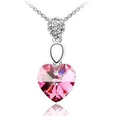 Chic Rose Pink Crystal Heart Pendant with Ball Bead Bail Necklace