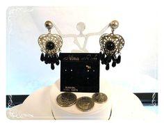 Old Store Stock Nina Rich Heart Silver Heart & Black Beads Pierced Earrings - E626a-081412000 #handmade #gifts