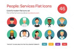 People: Service Flat Icons Set by roundicons.com on @creativemarket