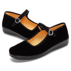 Black Buckle Dance Ballet Flat Mary Jane Chinese Style Shoes