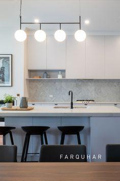 Kitchen Pendant Lighting, Kitchen Pendants, Kitchen Renovation Inspiration, Modern Grey Kitchen, Stone Benchtop, Kitchen Design Gallery, Herringbone Tile, Modern Art Deco, Furniture Decor