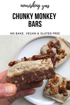 Vegan Chunky Monkey Bars | No Bake & Gluten Free | Nourishing Yas - Simple Plant based Recipes #vegan #veganrecipes #glutenfree #dairyfree #chunkymonkey #plantbased #vegandesserts #nobake #sweettreats #rsf #peanutbutter