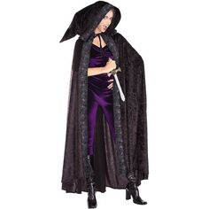 From The Discount Costume Store Full Length Hooded Cape Adult Costume Goth Halloween Costume, Purple Halloween, Plus Size Halloween, Adult Halloween, Gothic Halloween, Halloween Accessories, Costume Accessories, Adult Costumes, Costumes For Women