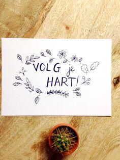Volg je hart 'Follow your heart' - postcard - pen drawing - love - friends - family - loved door XantheCS op Etsy