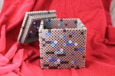 Minecraft Diamond Ore Box Made of Perler Beads by BraveDeity