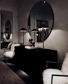 Wohnung Einrichten ideen - Don't like how dark it is, but love the whole minimal dresser set up - mirro. Dark Living Rooms, Home And Living, Living Room Decor, Bedroom Decor, Bedroom Furniture, Dark Furniture, Modern Living, Home Interior Design, Interior Decorating