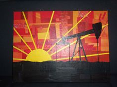 This is the silhouette of an oil rig made from pieces of magazine on a 12 by 16 canvas. Paper Collage Art, Gabi, Oil Rig, Oil And Gas, Rigs, Projects To Try, Silhouette, Canvas, Painting
