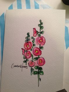 Watercolor Hollyhock Card by gardenblooms on Etsy, $3.50