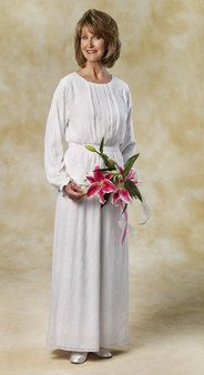 Embroidered white, chiffon skirt and top. - White Elegance - Makers of LDS Temple Clothes, Temple Dresses, Pioneer Costumes and more