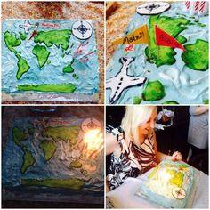 birthdaycake, födelsedagstårta, map, world map, worldmapcake, worldmapbirthdaycake, atlas atlas cake , tårta, cake, sugarpaste, fondant, fluff, decorations, cake decorations, tårtdekorationer, travel, travel cake, travelbirthdaycake