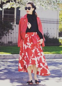 2.16 confident red (Linea Pelle red leather jacket + REDValentino bow blouse + Dillard's 'keepsake scribe' floral-print midi skirt + Miu Miu bow sandals + Linea Pelle red clutch)