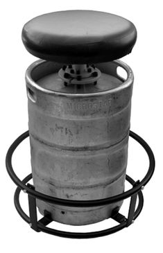 beer keg bar stool... very cool idea for a bar