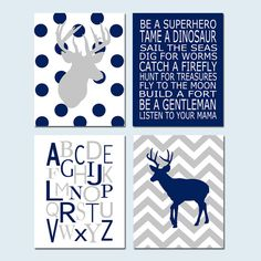 Baby Boy Nursery Art  Chevron Deer Nursery Prints  Kids by Tessyla, $75.00