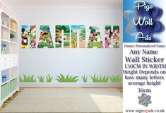 Disney Personalized Name Wall Art Sticker Children's room décor large Name Wall Stickers, Name Wall Art, Room Stickers, Butterfly Wall Stickers, Reading Nook Kids, Disney Names, Room Divider Walls, Custom Made Curtains, Wallpaper Uk