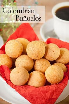 Colombian buñuelos or cheese fritters, are a mouthful of textures and flavors. They have a soft crumb and a crispy crust with a hint of sweetness and are a typical Colombian Christmas treat. Colombian Desserts, Colombian Dishes, Colombian Cuisine, Filipino Desserts, Gourmet Recipes, Baking Recipes, Cuban Recipes, Yummy Recipes, Cheese Fritters Recipe