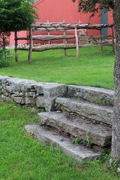 New England Stone Walls, An American Stonehenge Cheap Landscaping Ideas, Home Landscaping, Backyard Ideas, Stone Barns, Stone Houses, Outdoor Planters, Outdoor Decor, Load Bearing Wall, Stone Stairs
