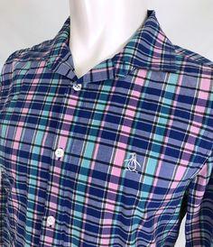 7c12ba014c28af Penguin by Munsingwear Casual Dress Shirt Mens Medium Heritage Slim Fit  Plaid  Penguin  ButtonFront