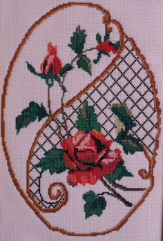 "Cross Stitch by Svetlana Shevchenko (Russia). ""Розы на шпалере"". Работа Светланы Шевченко (Россия)."