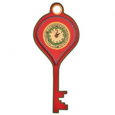 This #hanging #KEY shaped #WARLI #handpainted 3red #clock looks classy on the wall. Beautiful #WARLI #motifs has been handpainted on the dial.