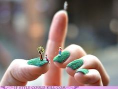 Alice Bartlett has created tiny landscape nail art, a grass-like textured nail base miniature model figures and created little summer park scenes.