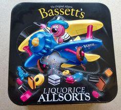 Bassett s Liquorice Allsorts Sweet Tin showing Bertie Bassett in his Biplane Liquorice Allsorts, Tin, Advertising, Sweet, Ebay, Candy, Pewter