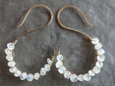 Moonstone earrings wire wrap gemstone earrings by BirdandBeed https://www.etsy.com/shop/BirdandBeed?ref=si_shop