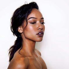 Karrueche Tran   makeup inspiration >>> love the simplicity of this look & the dark lip.     KT