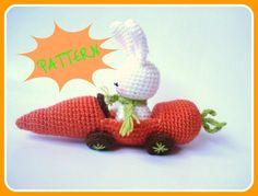 Amigurumi Pattern, PDF Amigurumi Crochet Bunny and Carrot Car Pattern.  via Etsy.