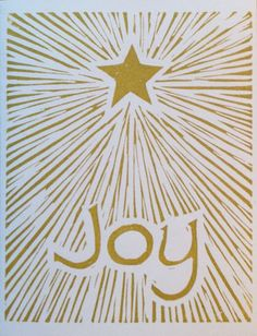 Joy linocut Christmas card by LinoGal on Etsy, $1.75