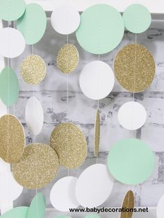 Mint and Gold Glitter Garland - Mint to Be Decor - Mint and White Paper Garland - Gold Baby Shower - http://www.babydecorations.net/mint-and-gold-glitter-garland-mint-to-be-decor-mint-and-white-paper-garland-gold-baby-shower.html
