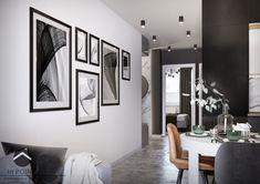 Projekt części dziennej mieszkania salonu połączonego z kuchnią. Całość projektu dopełniają autorskie grafiki Patrycji Krzanowskiej