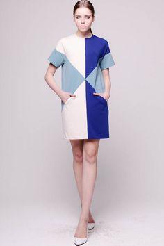 Fashion Color Block Geometric Print Short Sleeve Dress - OASAP.com